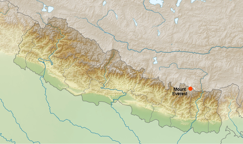 Himalayas, Nepal, map. Mounts Everest