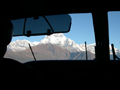 View of Himalayas from the cockpit of local airplane