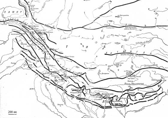 Гималаи на подробной карте схеме