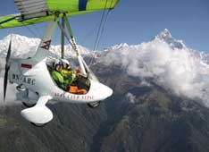 Extreme flights. Hang glider over the Himalayas in Pokhara, Nepal